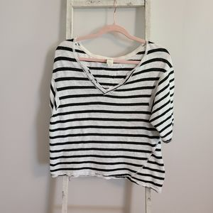 We the Free♡ Linen V-neck 3/4 sleeve stripe top